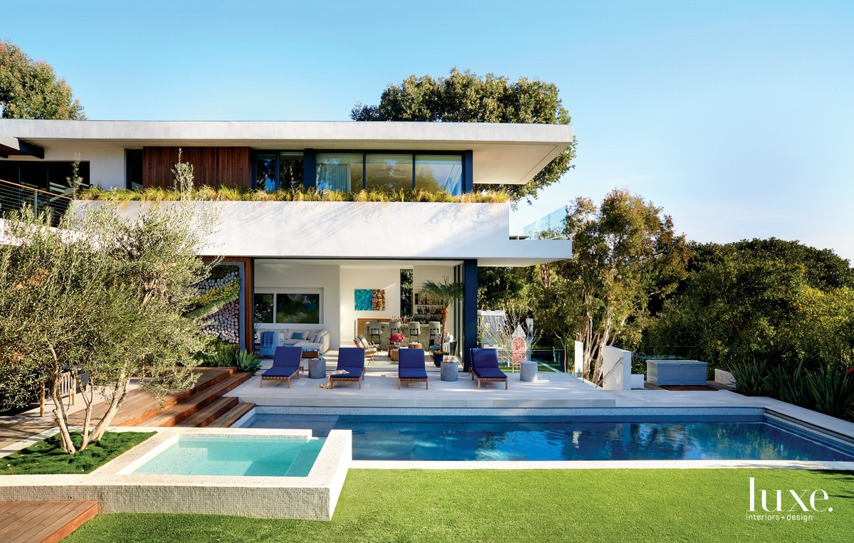 contemporary exterior pool and blue...