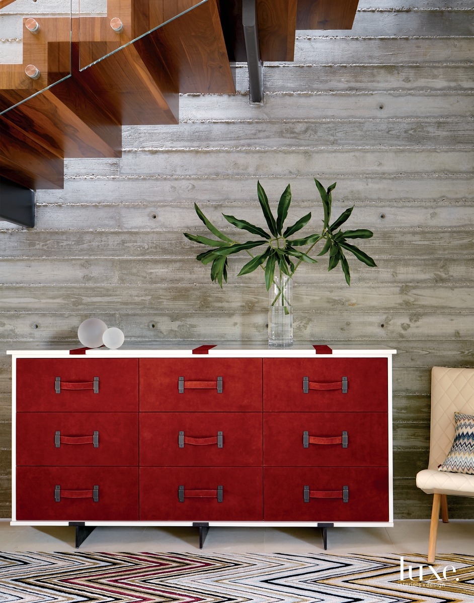 contemporary entry red drawer chest