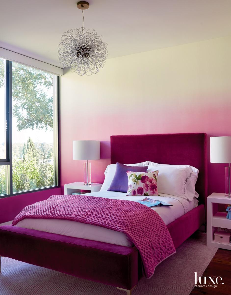 contemporary pink bedroom gradient wallpaper...