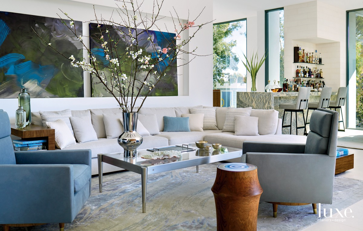 contemporary living room blue accents