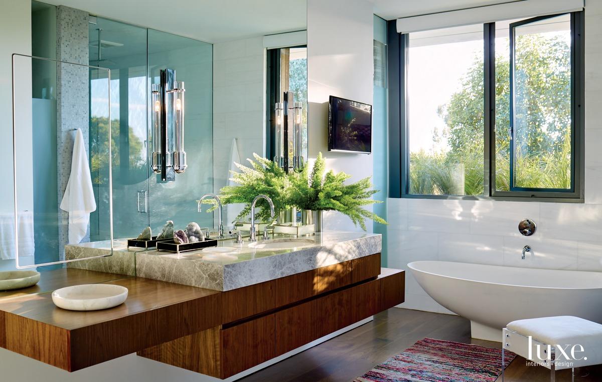 contemporary bathroom colorful rug