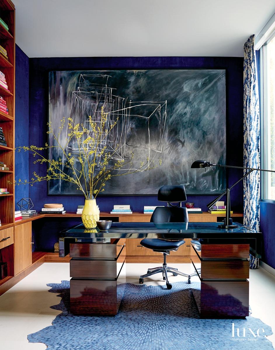 contemporary study indigo walls and...