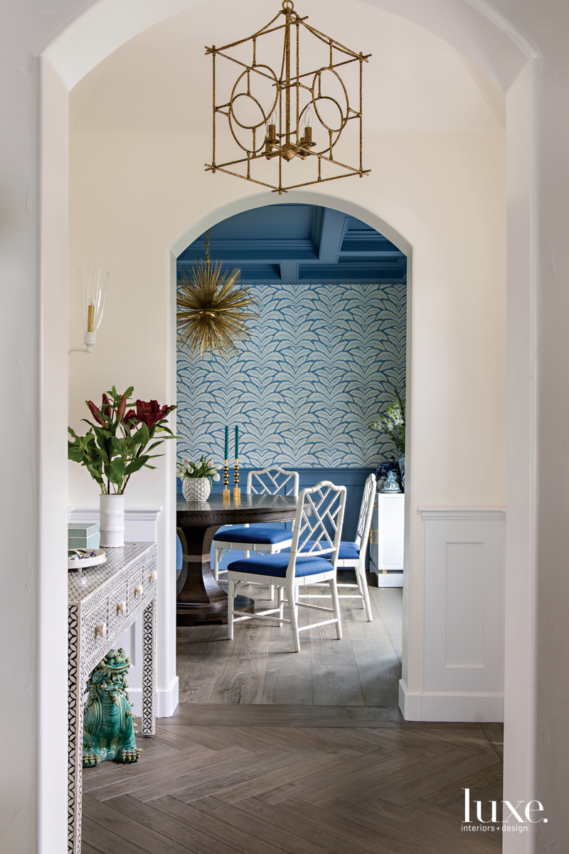 traditional entryway console blue dining...