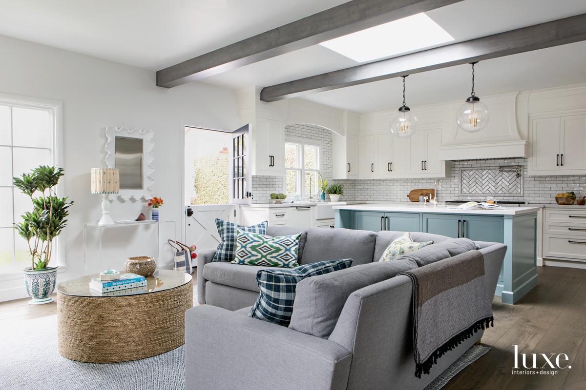 traditional living room gray sofa...