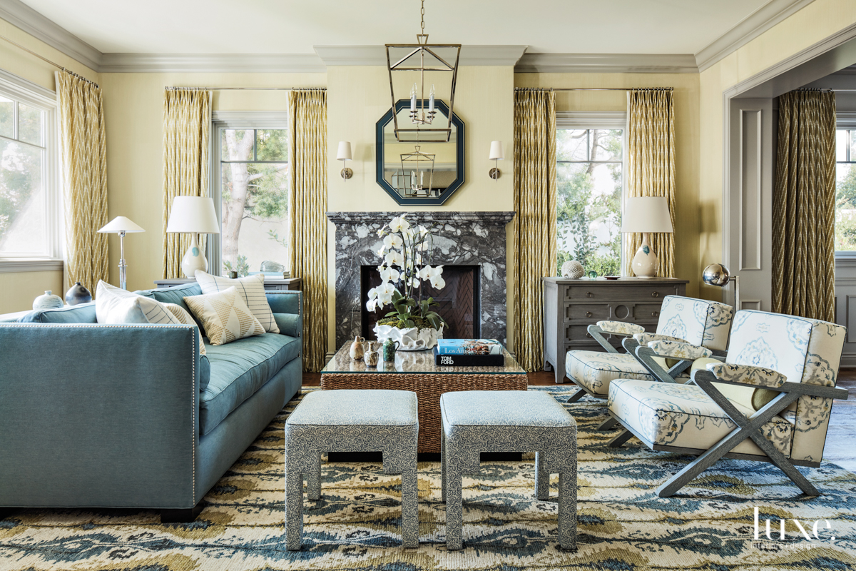 transitional living room gray and...