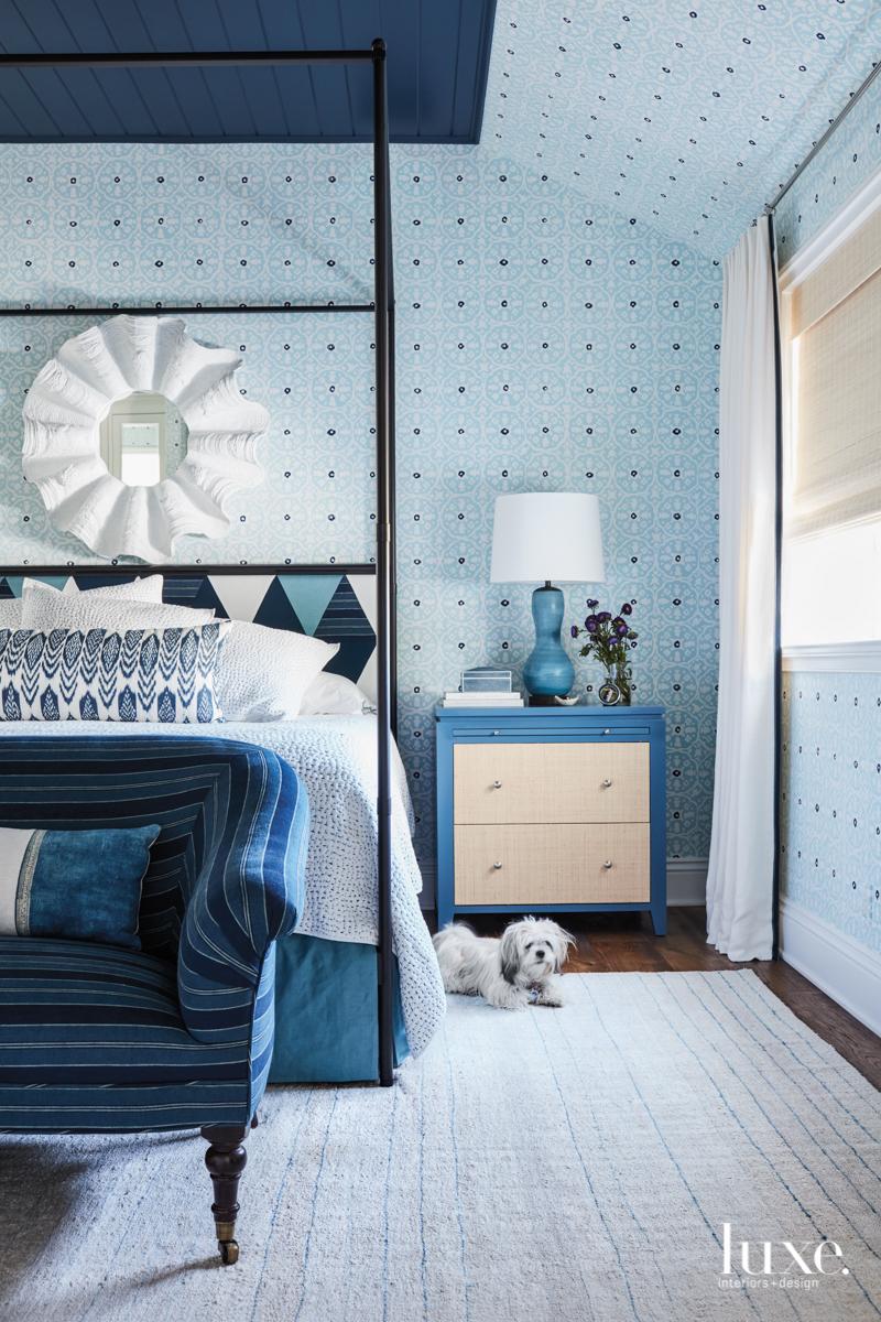 transitional blue bedroom