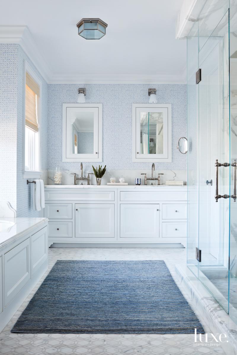 transitional pale blue bathroom