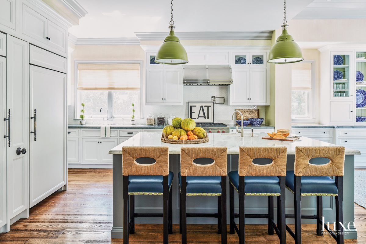 transitional kitchen blue and green...
