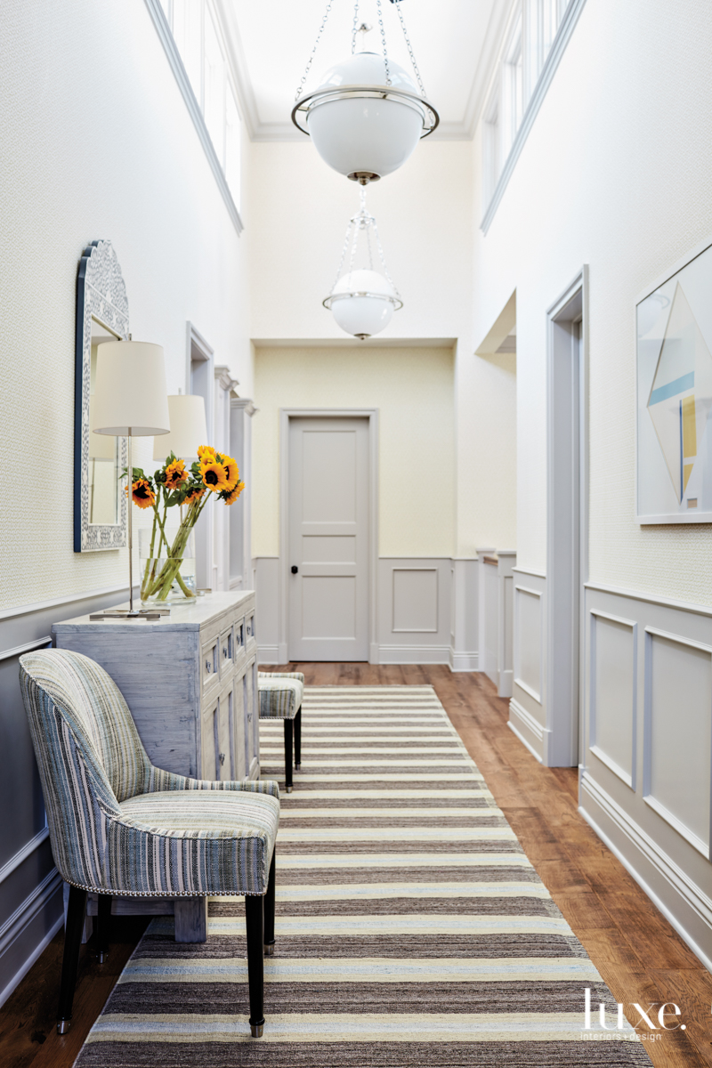 transitional hallway gray accents