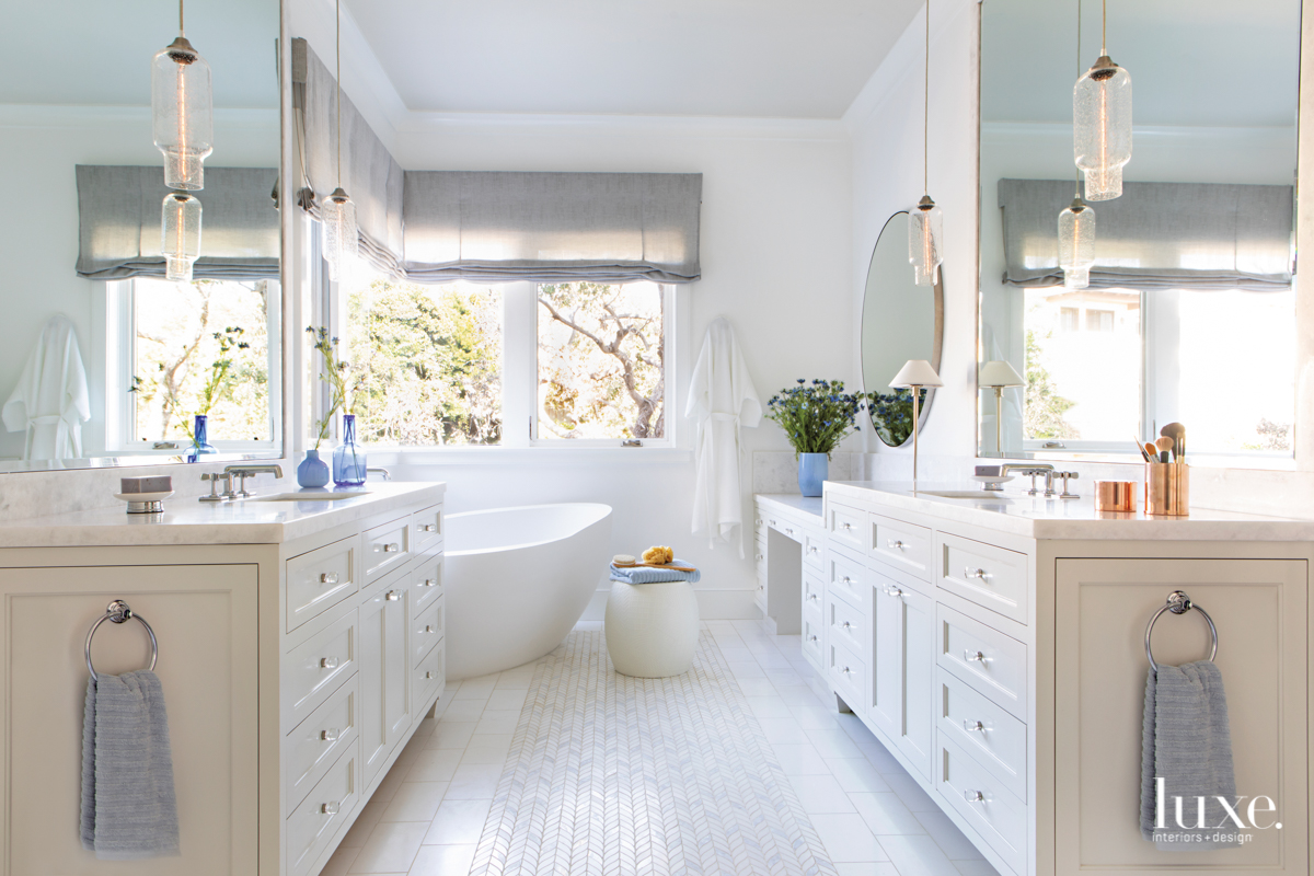 contemporary white bathroom blue accents