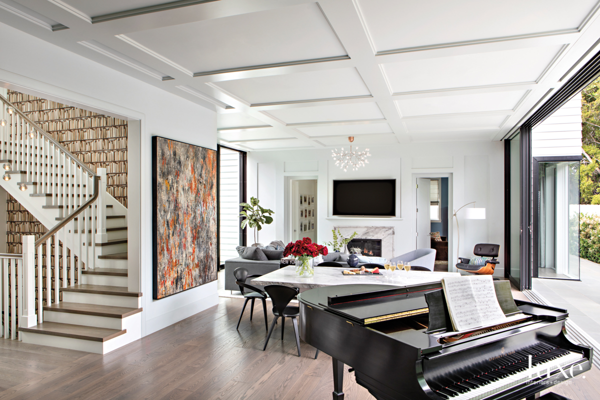 contemporary white great room neutral...