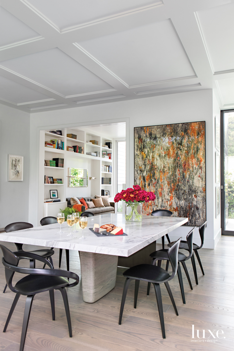 contemporary white dining room pops...