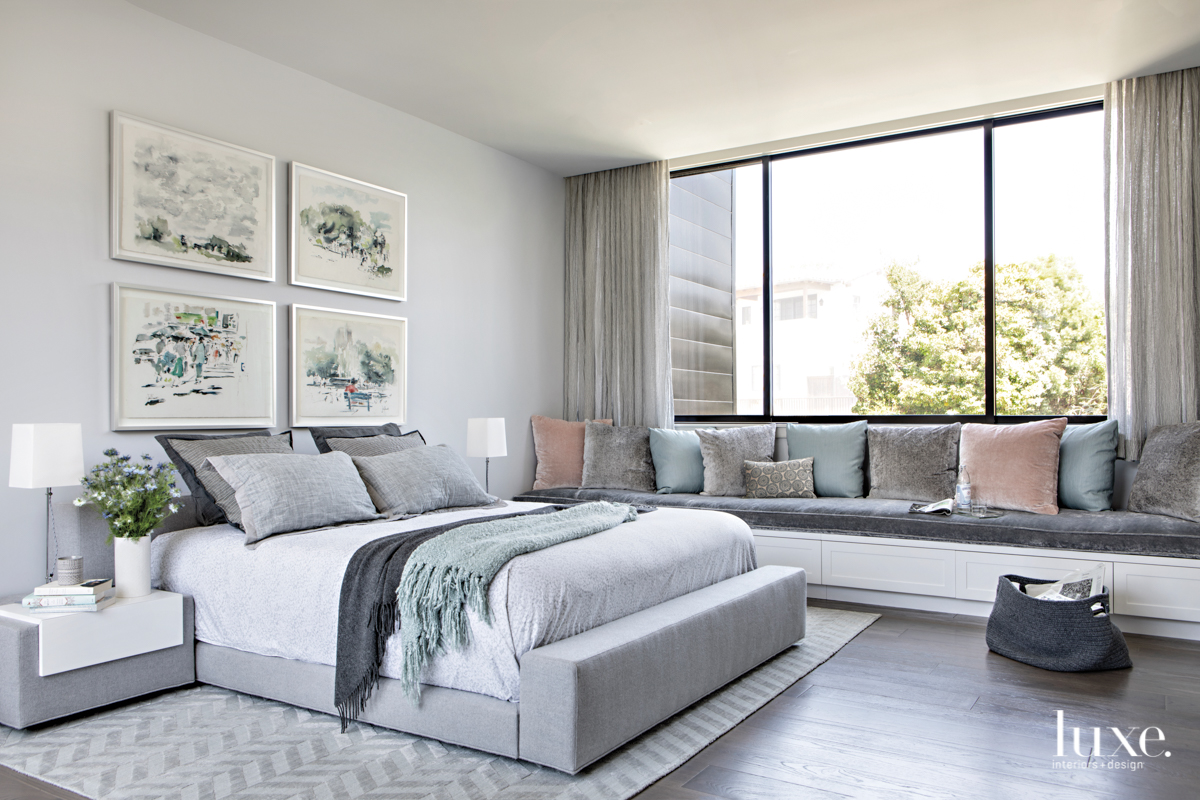 contemporary gray bedroom window seat