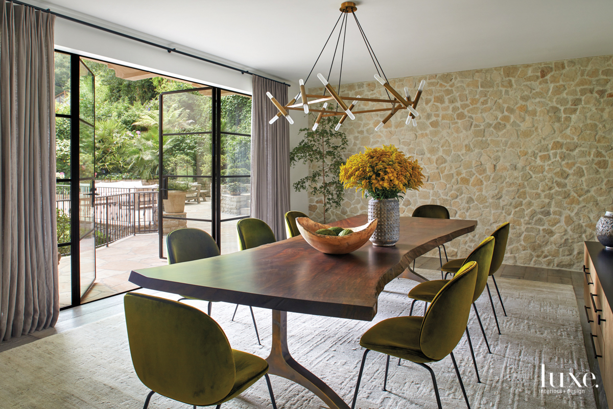 contemporary dining room green chairs...