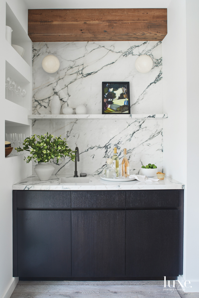 contemporary bar black cabinetry marble...