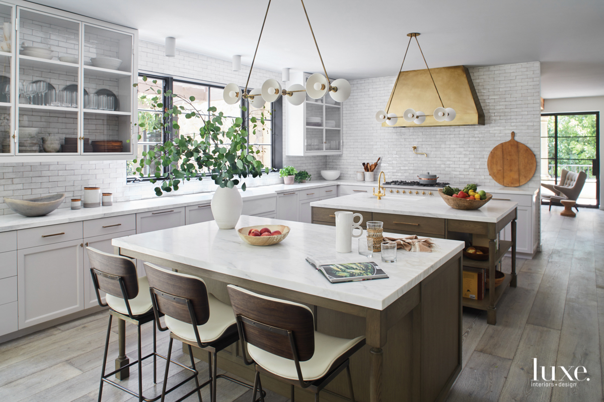 contemporary kitchen white tile and...