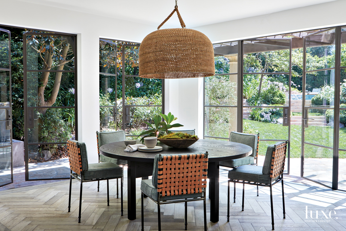 contemporary dining area black table...