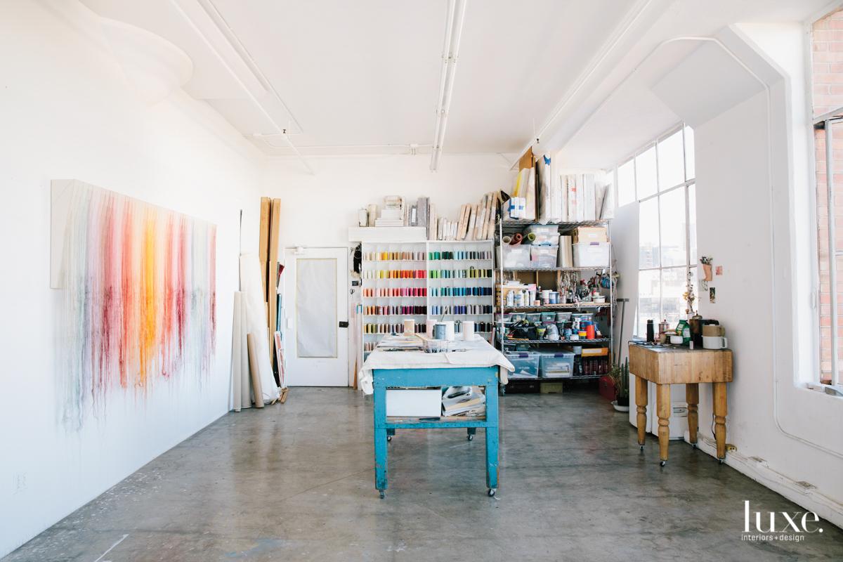 Her studio is in a historic building in Downtown L.A.