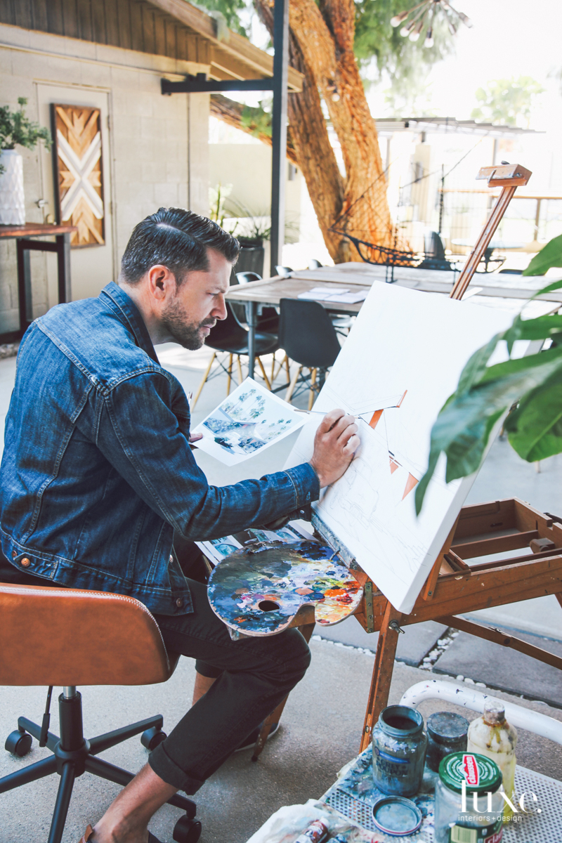 Artist Danny Heller lives and paints in a studio at the Lautner Compound outside Palm Springs.