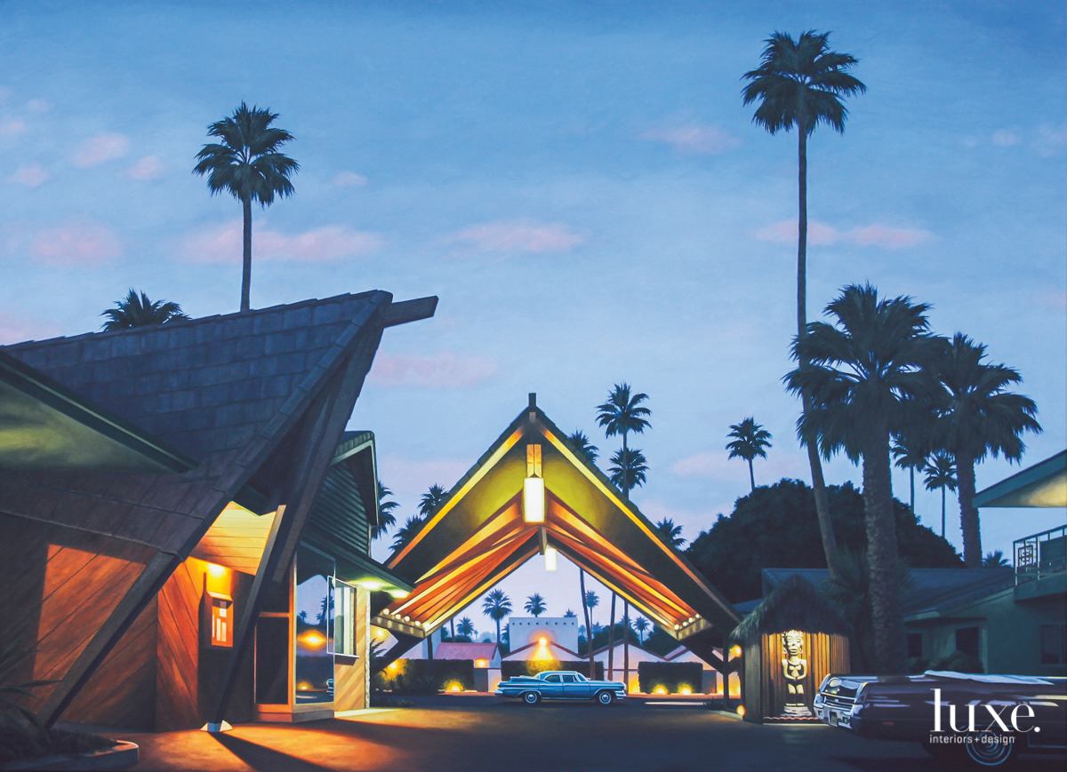 One of Heller's paintings in his latest series exploring midcentury Tiki style.