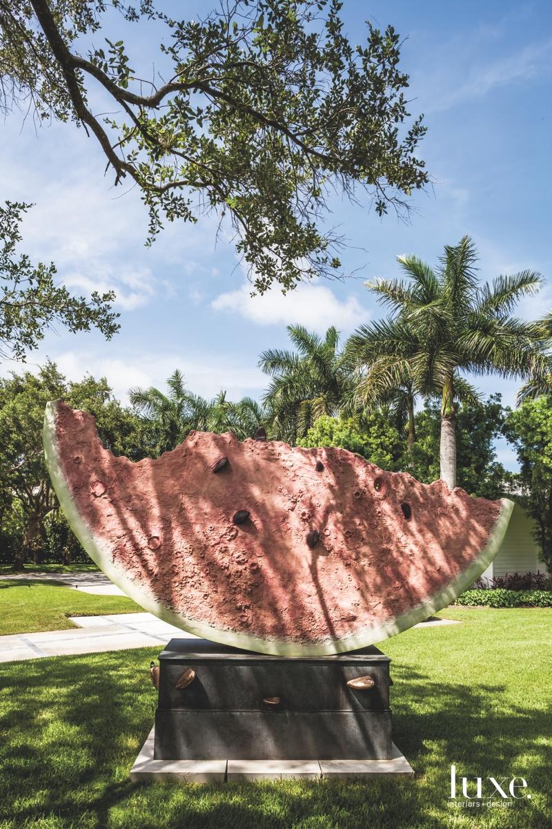 modern watermelon sculpture landscape