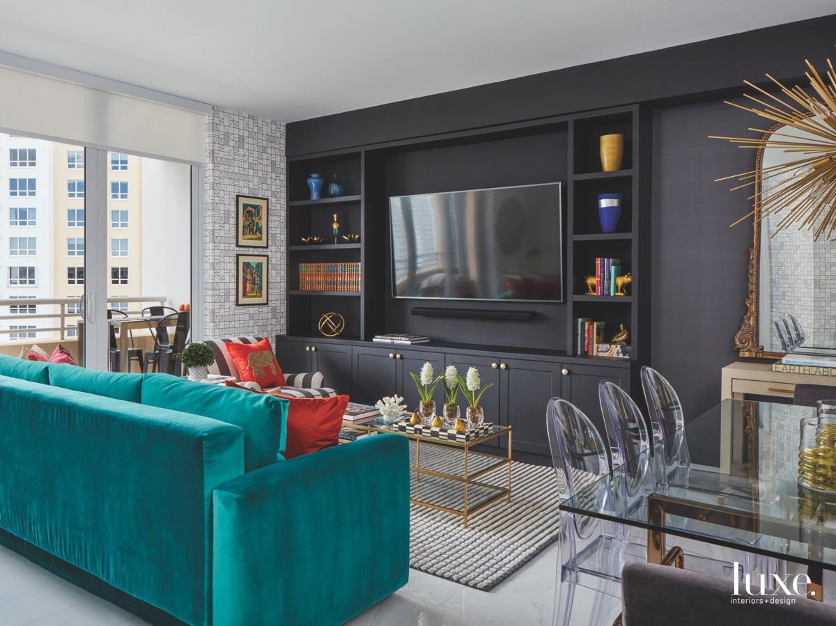 contemporary multi-colored living room