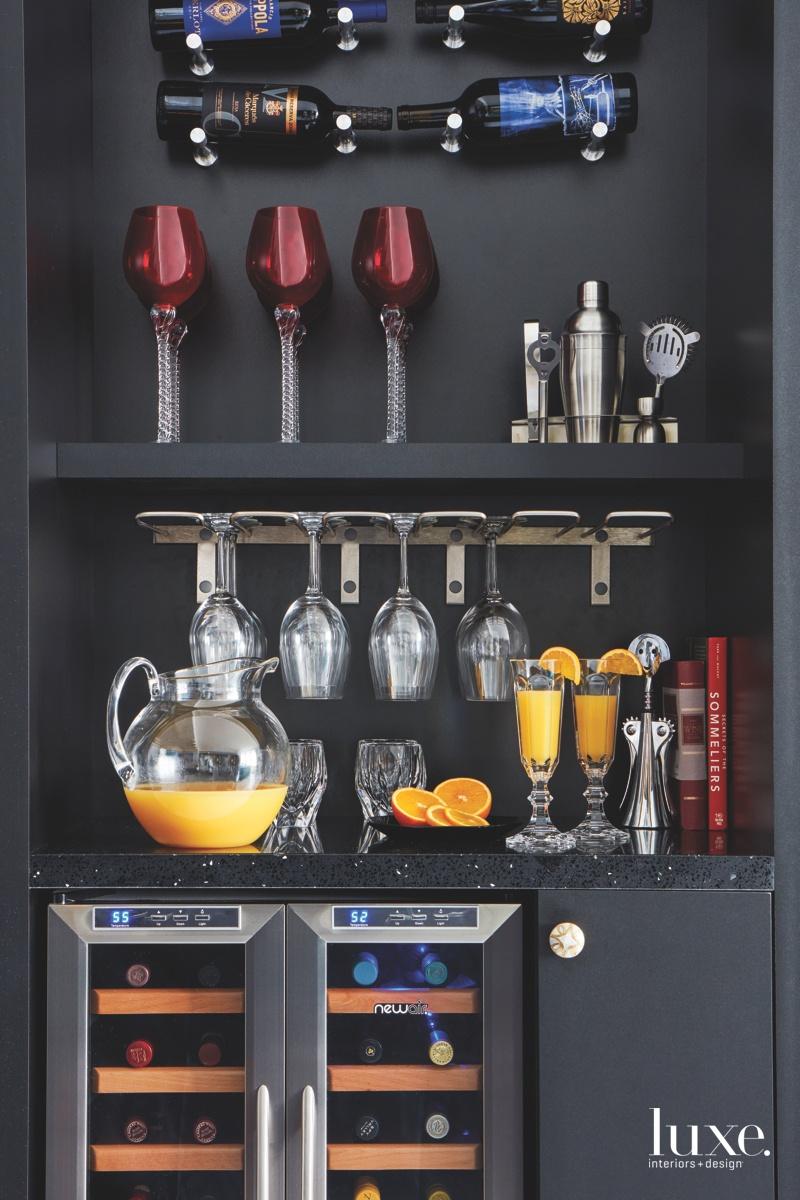 contemporary black bar wine fridge