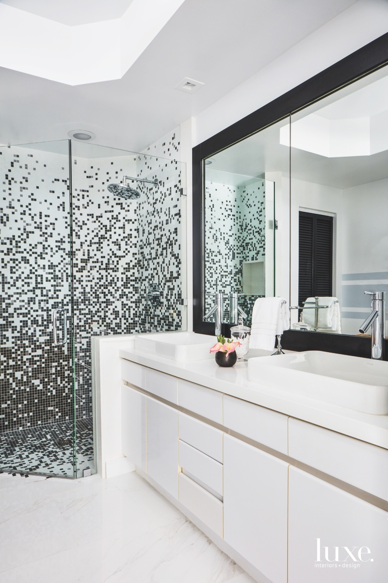 contemporary white bathroom Bisazza-style shower...