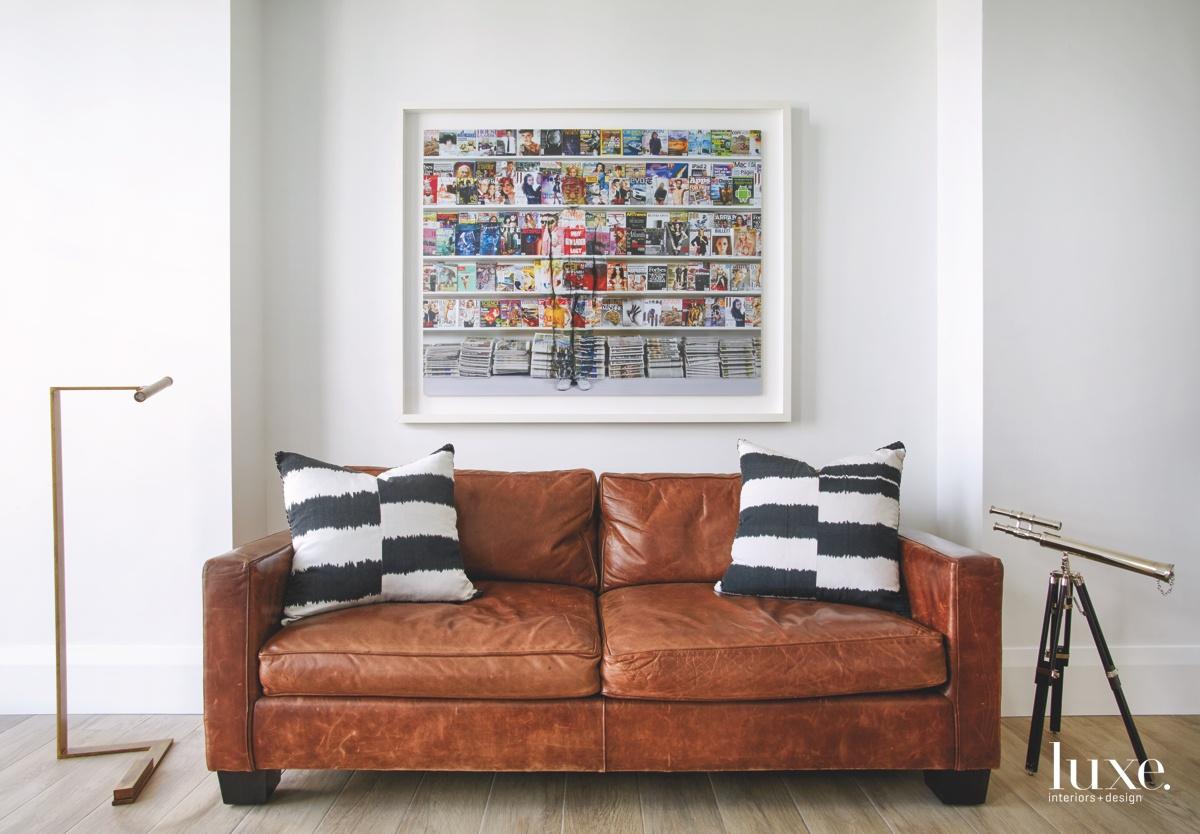 contemporary sitting area white walls...