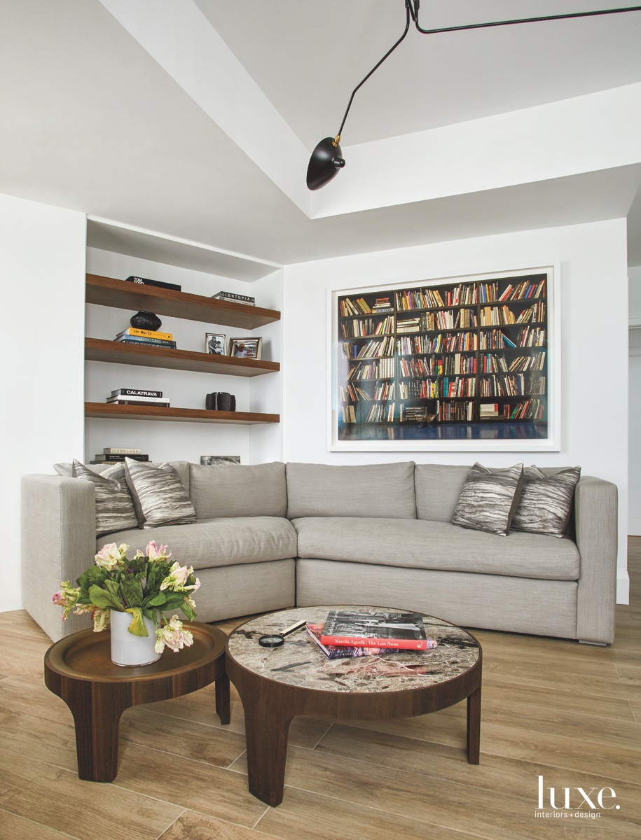 contemporary office white walls gray...