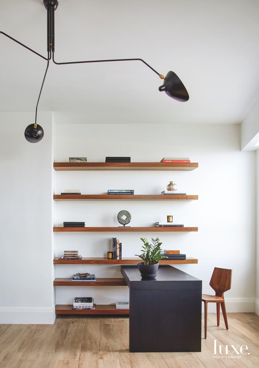 contemporary white office black desk...