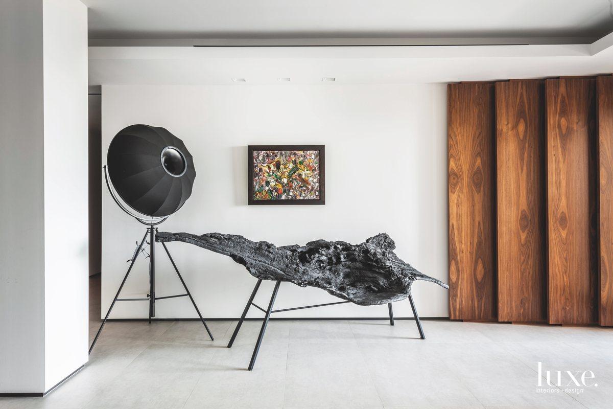 contemporary entry sculptures concrete floors...