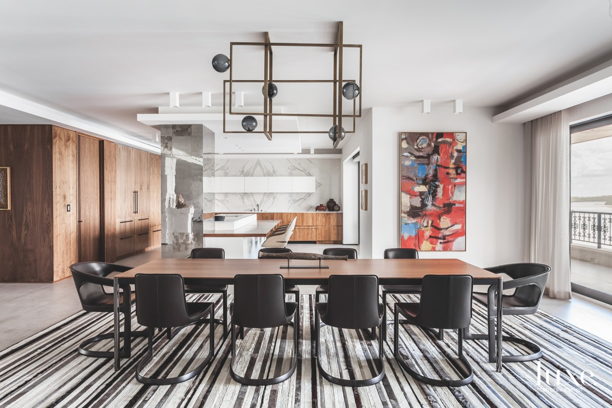 contemporary dining room black chairs