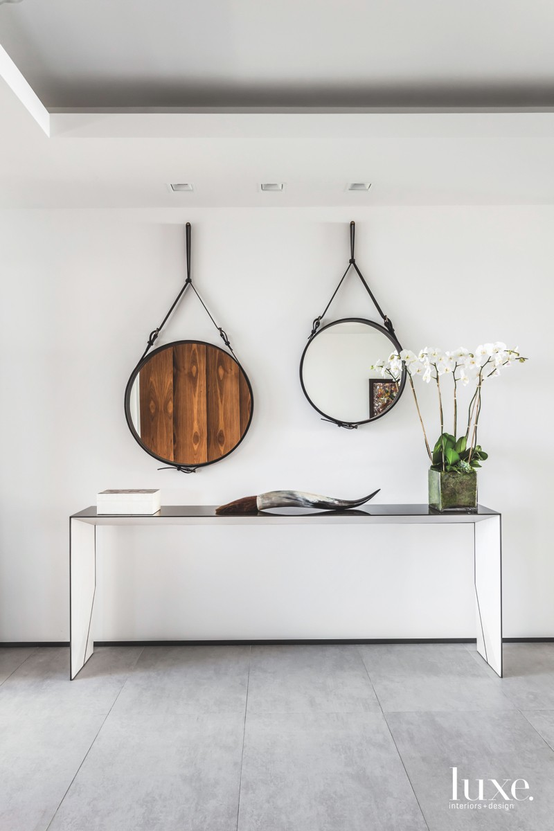 contemporary entry leather-strapped mirrors metal...