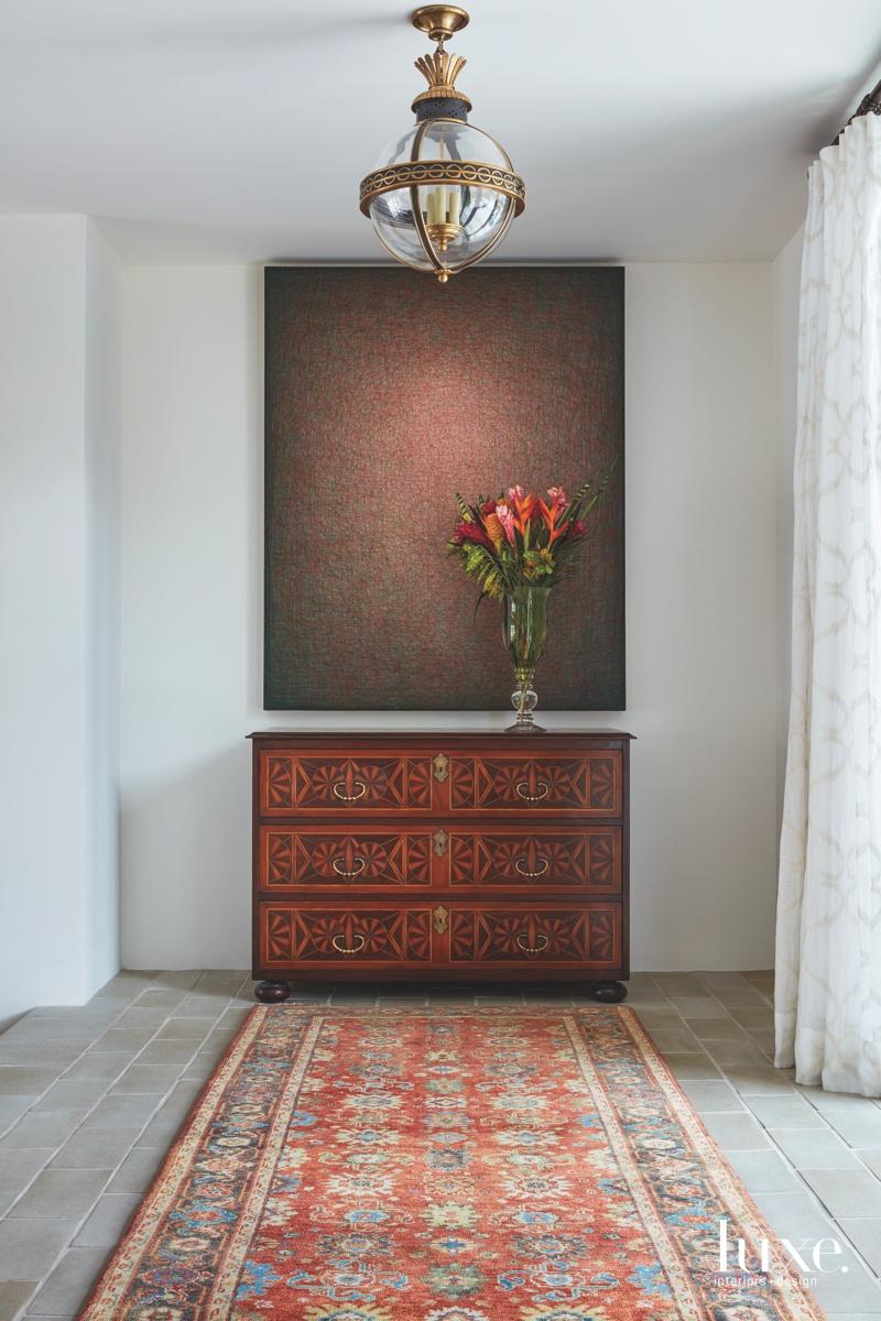 eclectic hallway red rug
