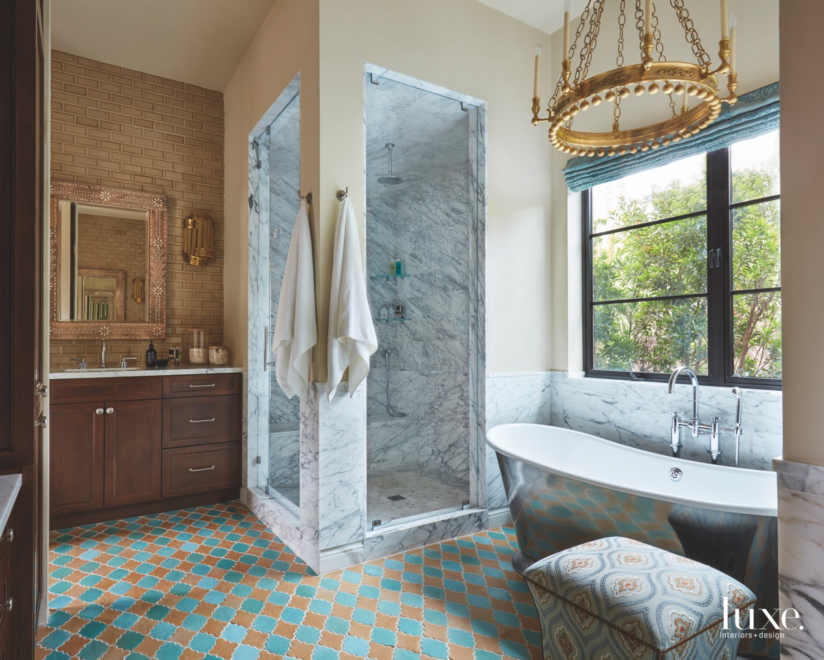 eclectic bathroom colorful flooring marble...