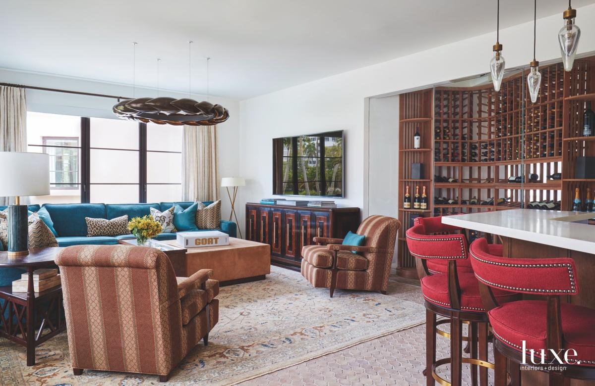 eclectic den multi-color wine room