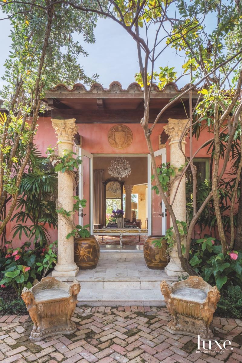 mediterranean pink exterior entry