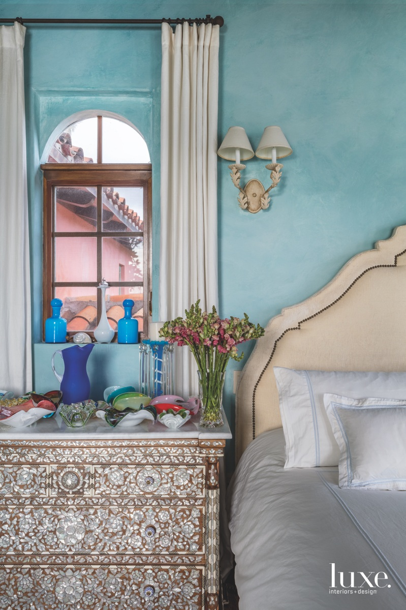 mediterranean blue bedroom white bed