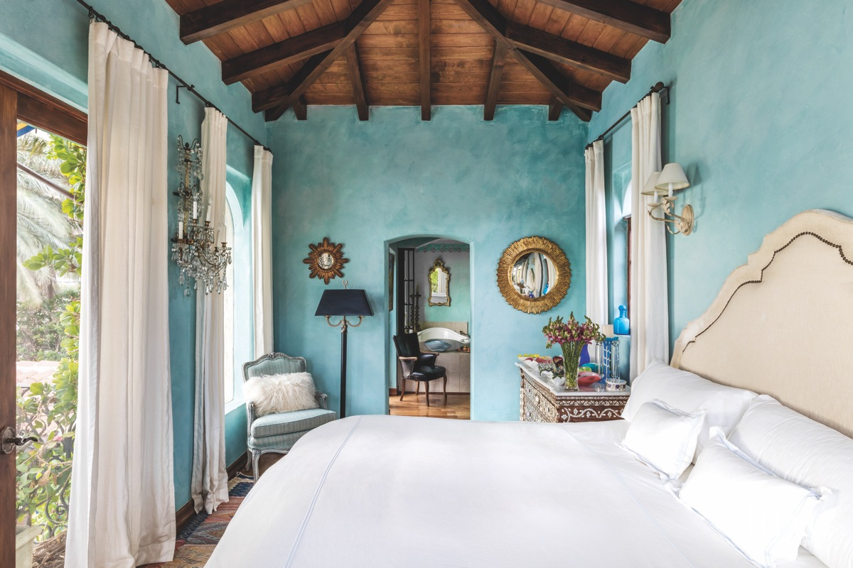 mediterranean blue bedroom white bed