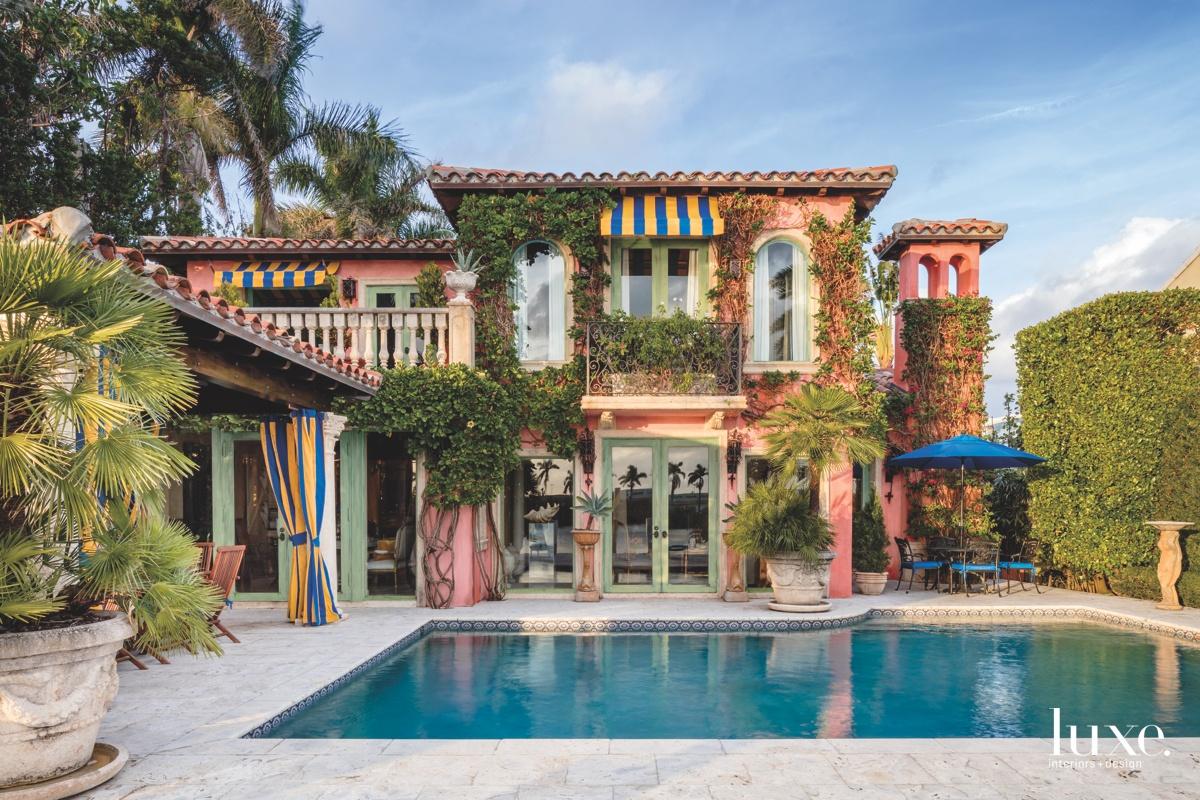 mediterranean outdoor pool colorful exterior