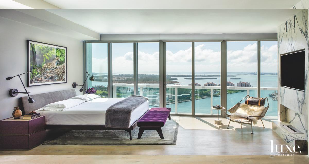 modern bedroom purple accents