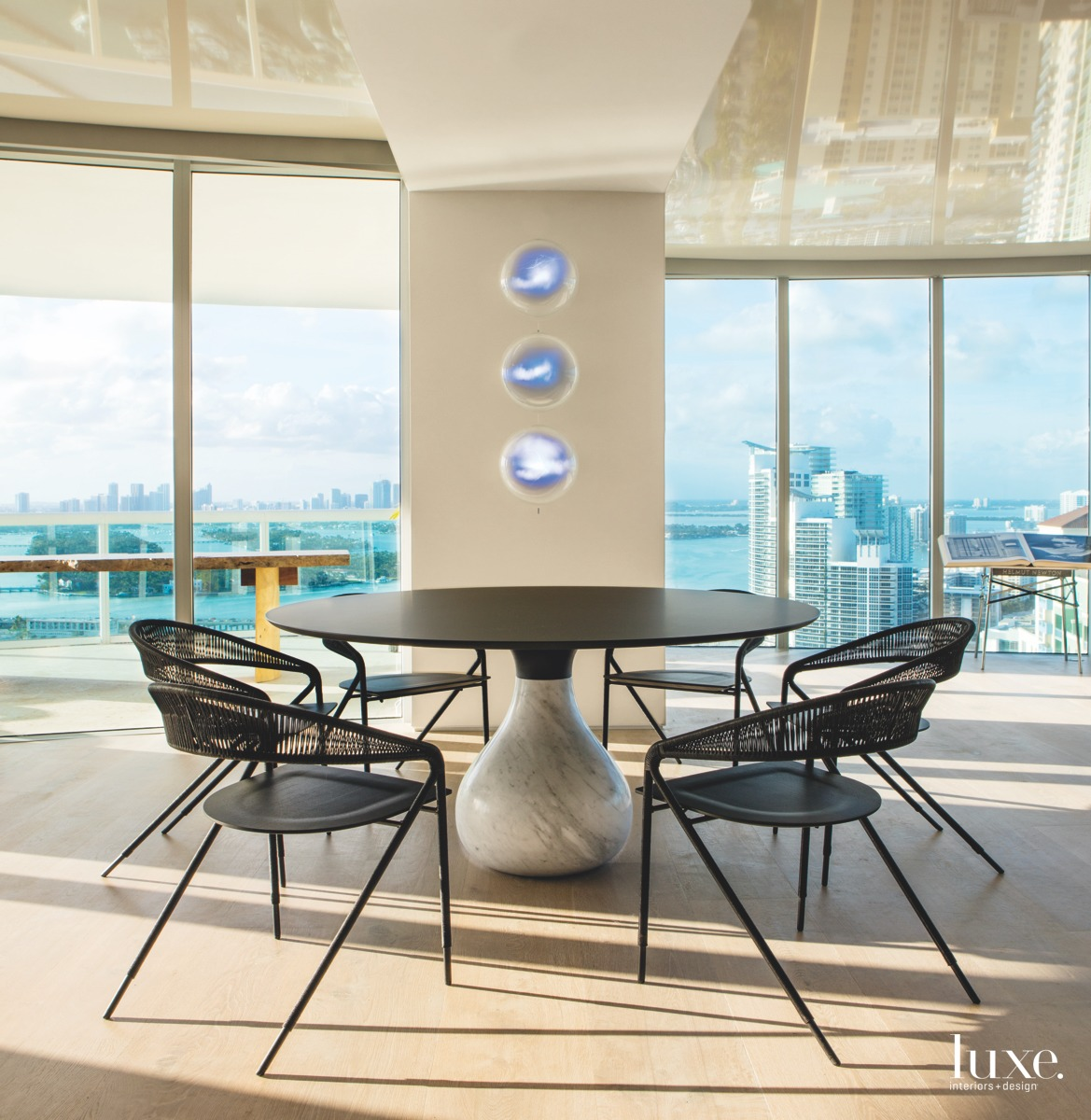 modern dining area marble base...