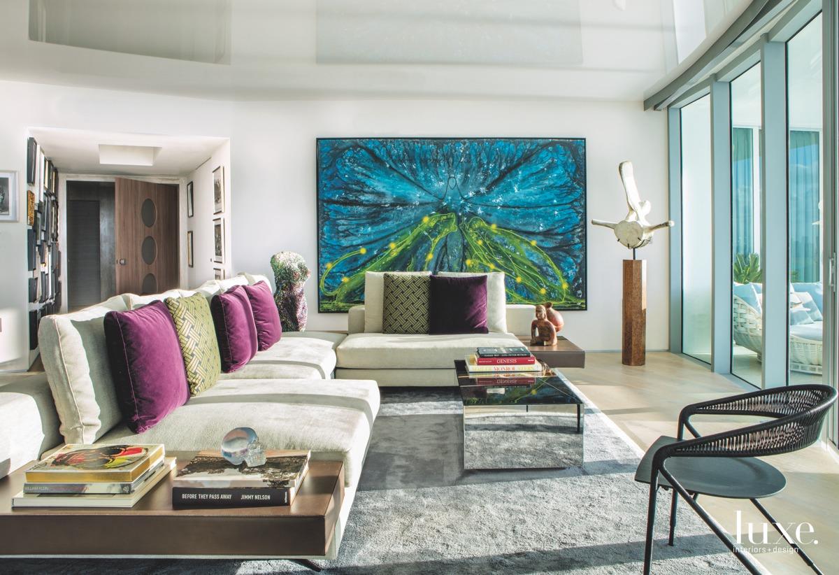 modern living room sectional gray...