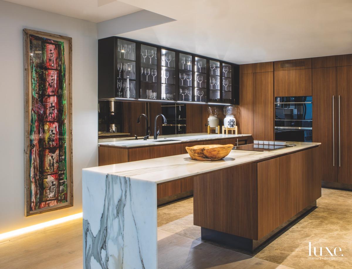 modern kitchen marble island and...