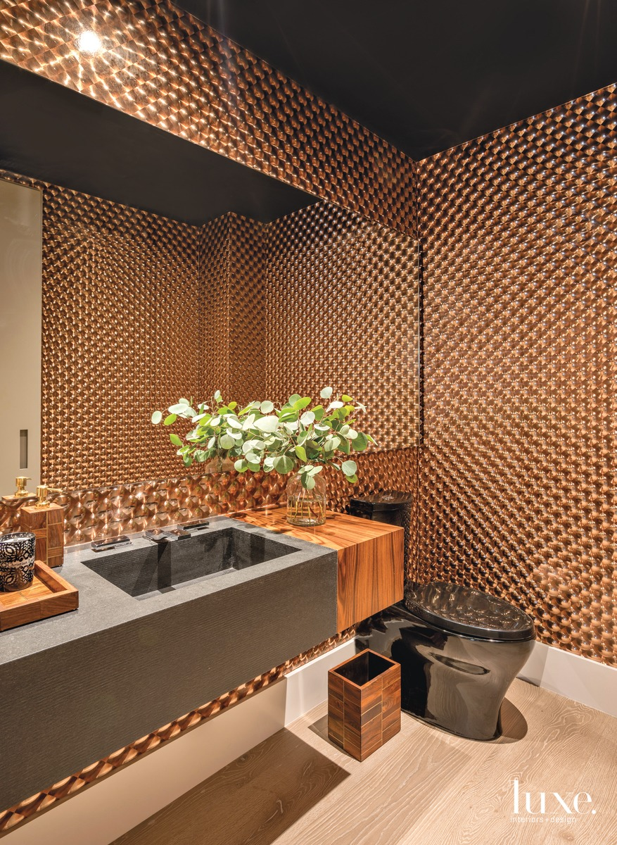 modern brown bathroom copper wallcovering