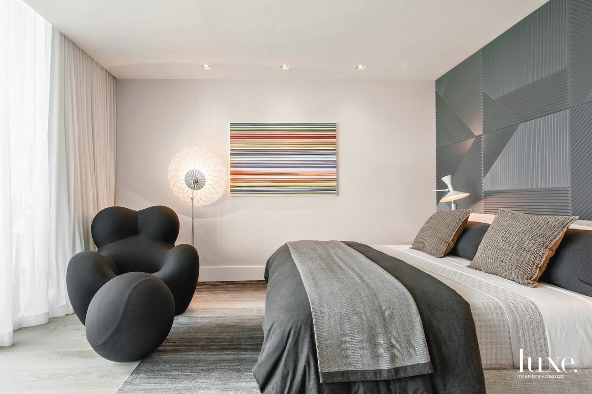 modern gray bedroom black chair...