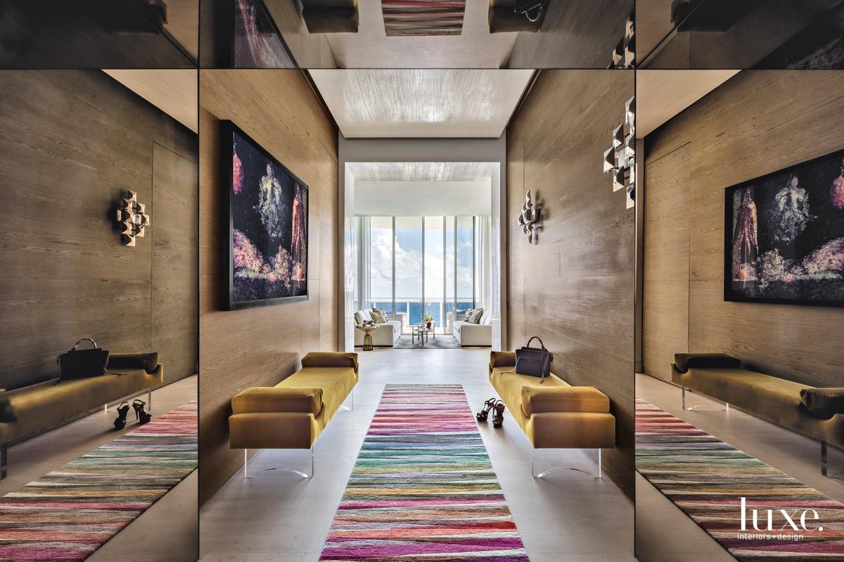 modern entry hall rainbow rug...
