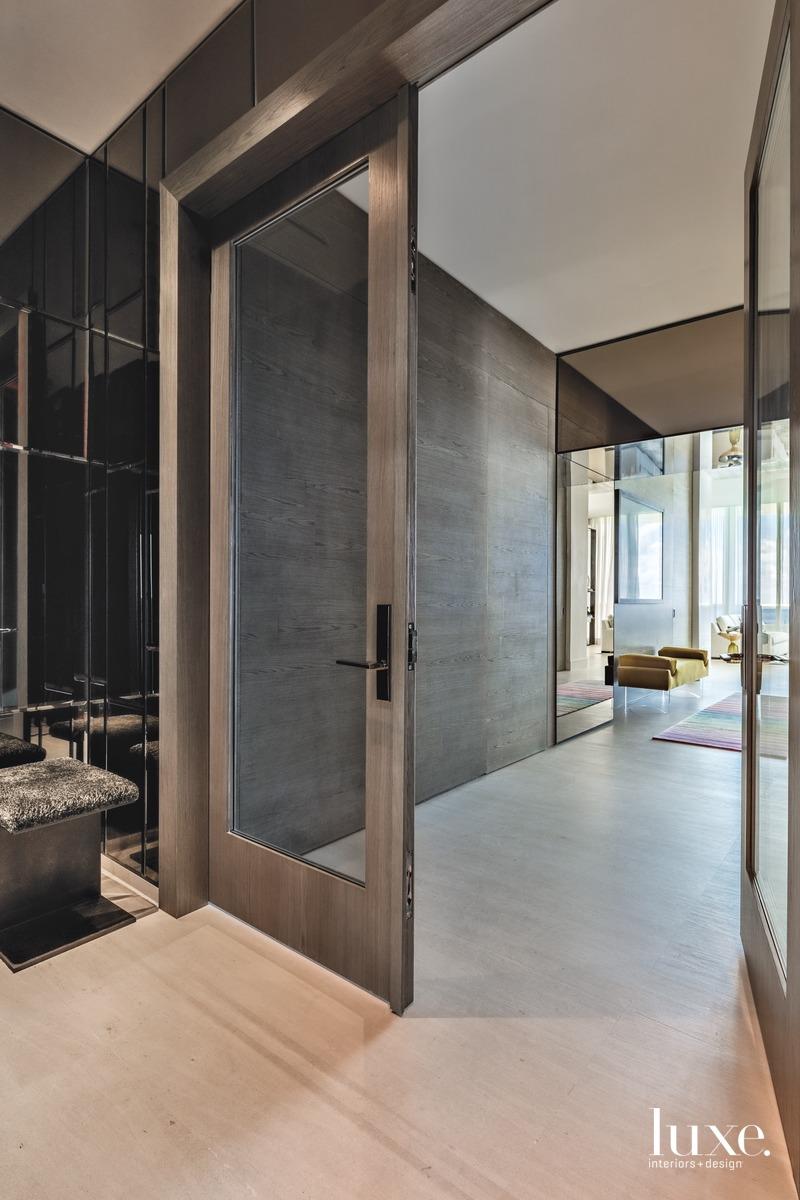 modern entryway glass doors mirrored...