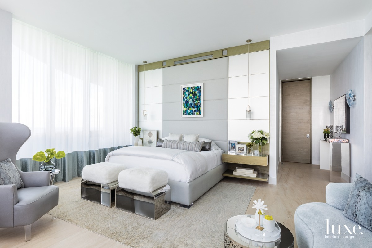 modern white bedroom green accents